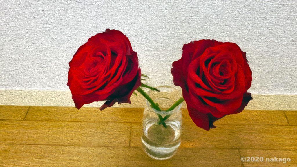 赤いバラ:油絵風